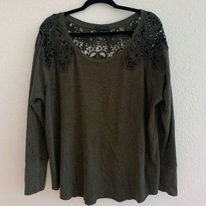 American Eagle AE Green Lace Back Sweater